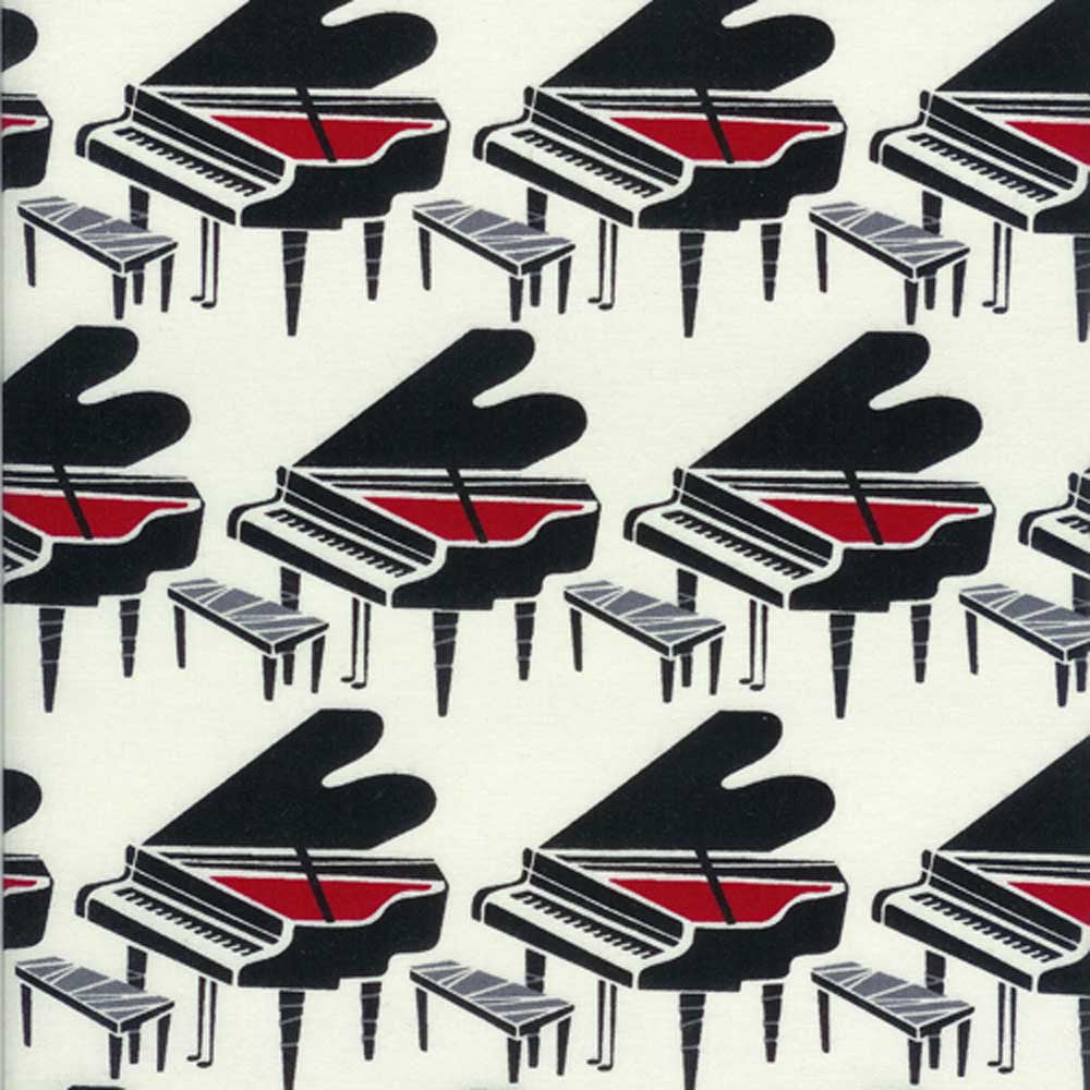 "TIMELESS TREASURES ""ALL THAT JAZZ"" PIANOS Cream by 1/2 yard"