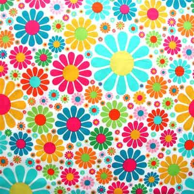 "ROBERT KAUFMAN ""EVERY IOTA DAISY"" Tropical by 1/2 yard"