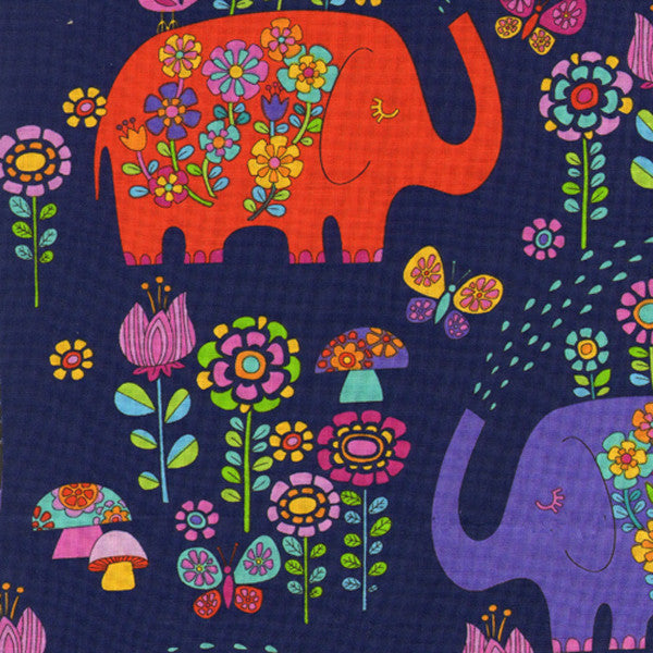TIMELESS TREASURES ELEPHANT SHOWER ELEPHANTS Navy 27 inches