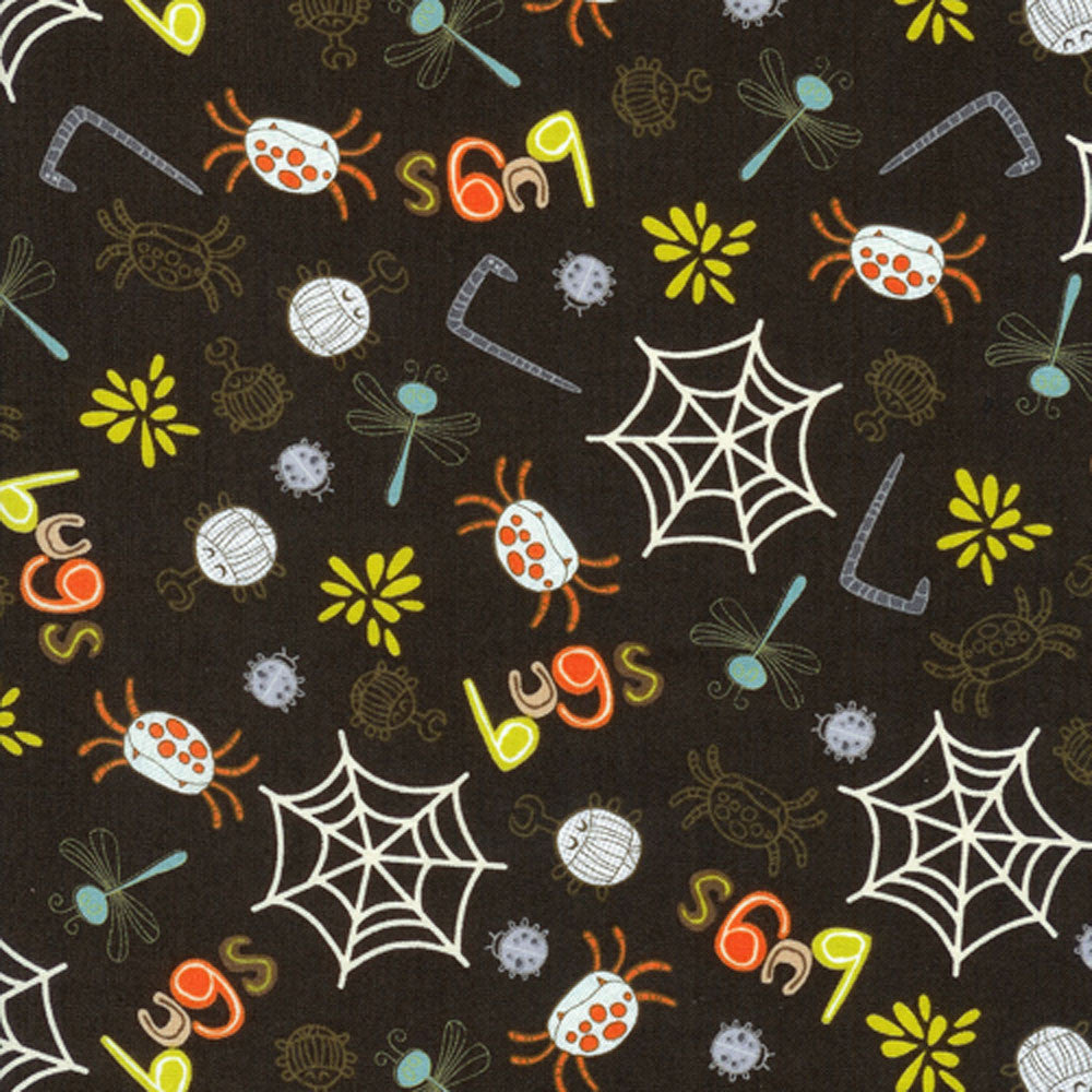 "TIMELESS TREASURES ""SMIRK"" BUGS ALLOVER Brown by 1/2 yard"