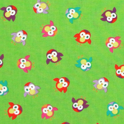 "TIMELESS TREASURES ""MOMO"" TOSSED OWLS Green by 1/2 yard"