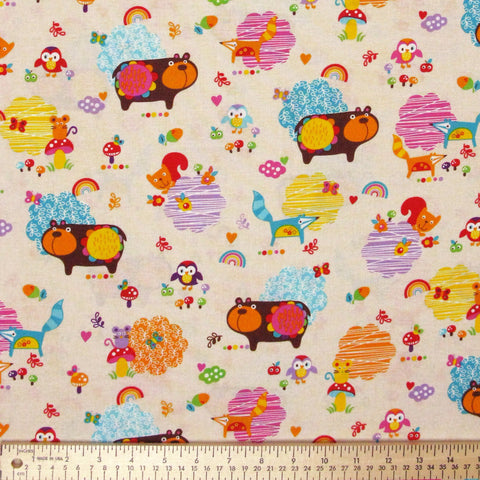 "TIMELESS TREASURES ""MOMO"" WOODLAND ANIMALS Cream by 1/2 yard"