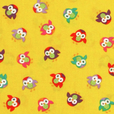 "TIMELESS TREASURES ""MOMO"" TOSSED OWLS Yellow by 1/2 yard"