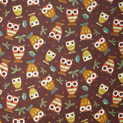 "ROBERT KAUFMAN ""ON A WHIM"" OWLS Earth 25 inches"