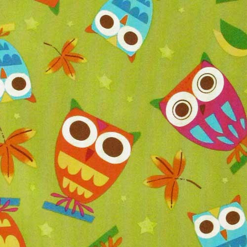 "ROBERT KAUFMAN ""ON A WHIM"" OWLS Pistachio 35 inches"