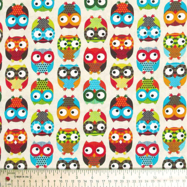 "TIMELESS TREASURES ""BRIGHT OWL"" OWL Cream 23 inches"