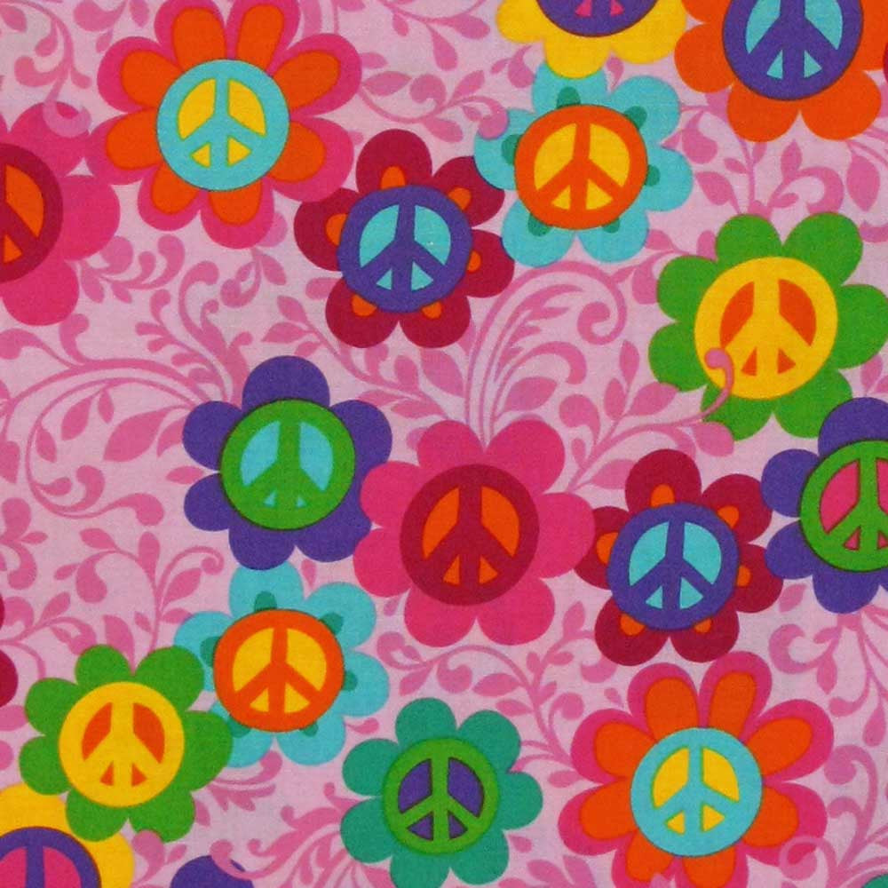 "TIMELESS TREASURES ""FUN"" PEACE SIGN Pink"