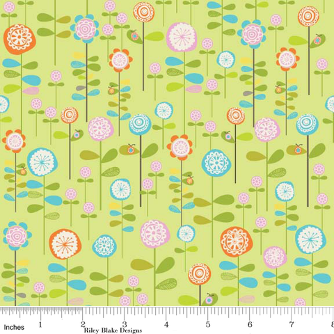 "RILEY BLAKE ""HAPPIER"" GARDEN Green by 1/2 yard"
