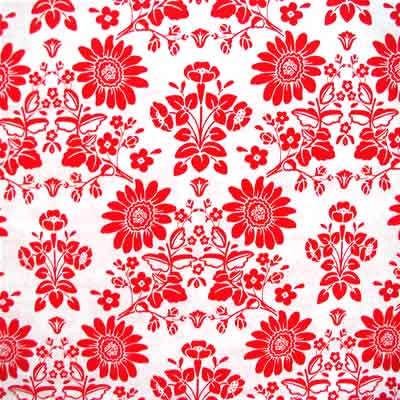 "ROBERT KAUFMAN ""NEW TRADITIONS"" FLORAL Red 13 inches"
