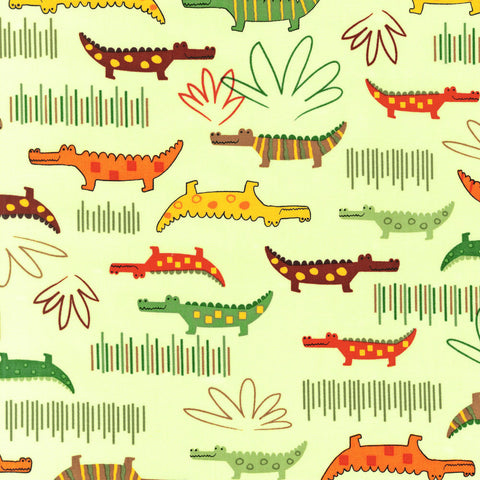 "ROBERT KAUFMAN ""JUNGLE CREATURES"" ALLIGATOR Bermuda BY 1/2 YARD"