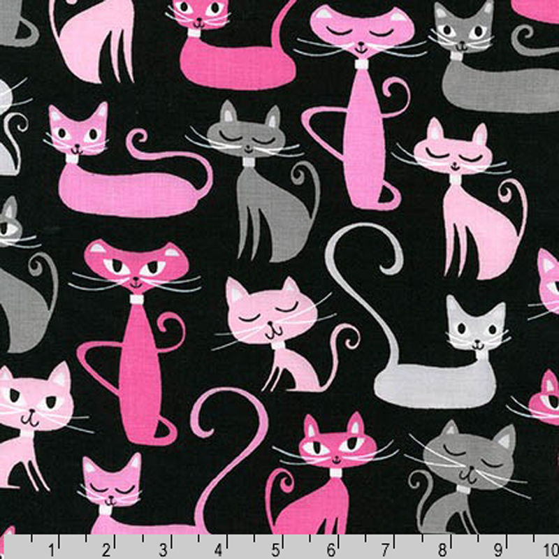 "ROBERT KAUFMAN ""WHISKERS & TAILS"" CATS Black by 1/2 YARD"
