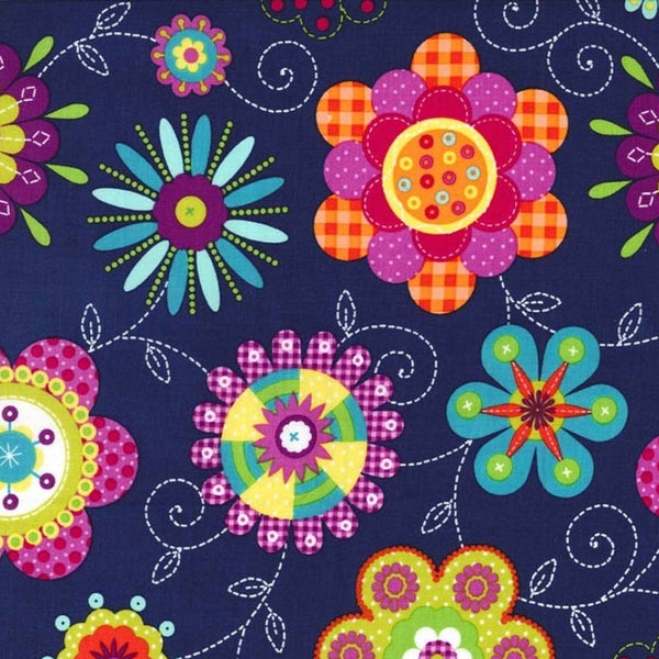 "MICHAEL MILLER ""PEPPY PETALS"" Navy BY 1/2 YARD"