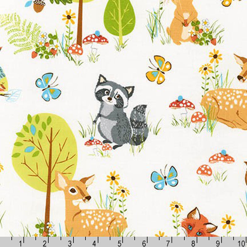 "ROBERT KAUFMAN ""FOREST FELLOWS"" ANIMALS Wild BY 1/2 YARD"