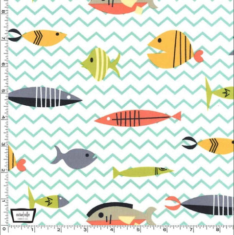 "MICHAEL MILLER ""SOMETHING'S FISHY"" Multi BY 1/2 YARD"