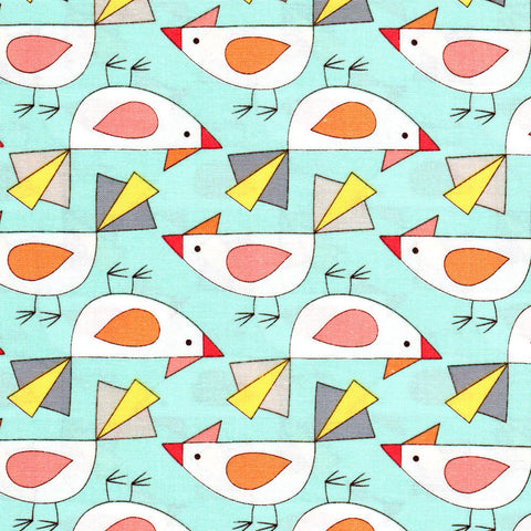 "MICHAEL MILLER ""BIRDS OF A FEATHER"" TWEET Aqua BY 1/2 YARD"