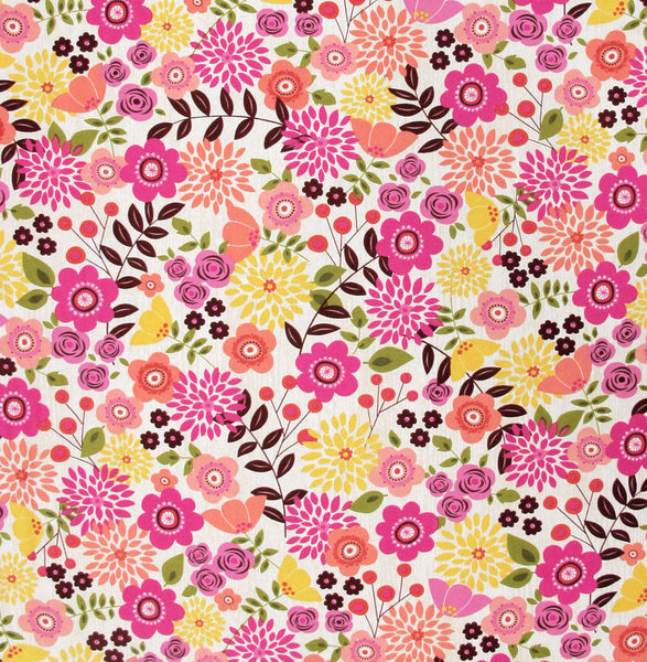 "ROBERT KAUFMAN ""ARIA'S TERRACE"" FLORAL Natural BY 1/2 YARD"
