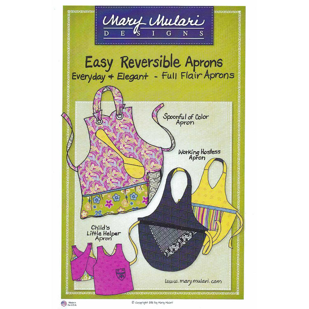 "MARY MULARI DESIGNS ""EASY REVERSIBLE APRONS"" Sewing Pattern"