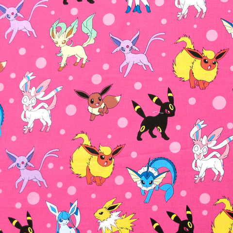 "ROBERT KAUFMAN ""Pokémon"" DOTS Pink by yard by 1/2 yard"