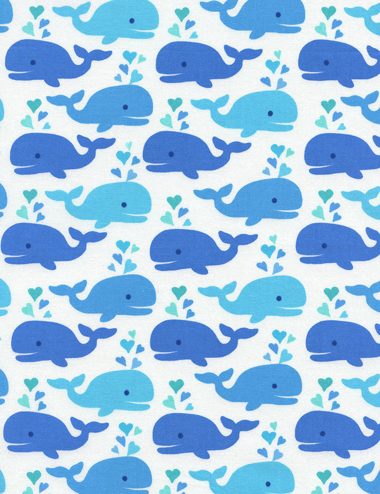 "TIMELESS TREASURES ""NAUTICAL & SEA LIFE"" WHALES White by 1/2 yard"