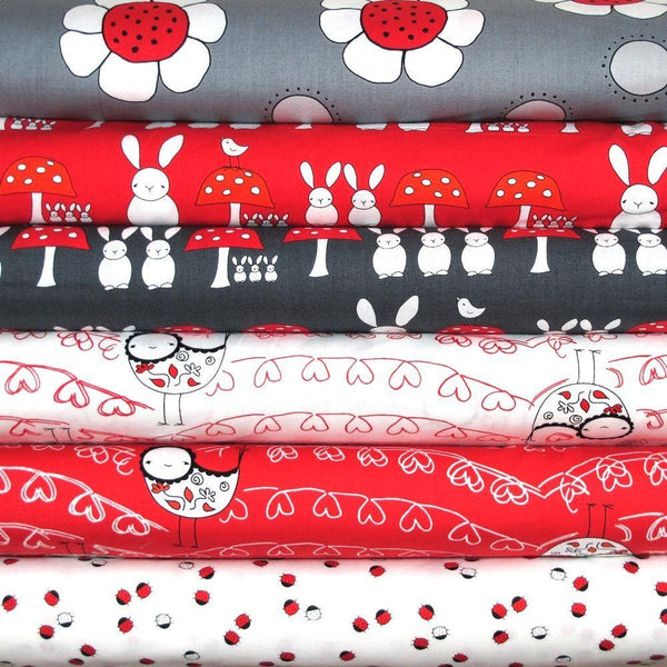 "ANDOVER ""THE RED THREAD"" BIRDS White BY 1/2 YARD"