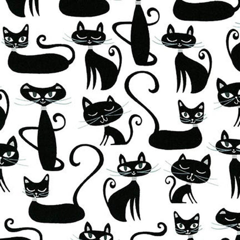 "ROBERT KAUFMAN ""WHISKERS & TAILS"" CATS White by 1/2 YARD"