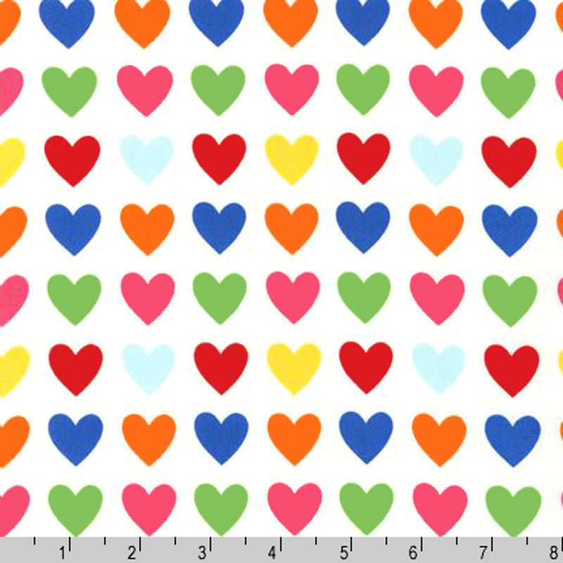 "ROBERT KAUFMAN ""REMIX"" HEARTS Bright BY 1/2 YARD"
