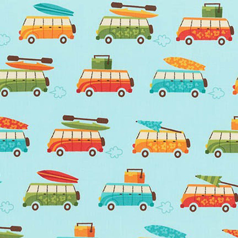 "ROBERT KAUFMAN ""BEACHY KEEN"" BEACH VAN Aqua by 1/2 yard"