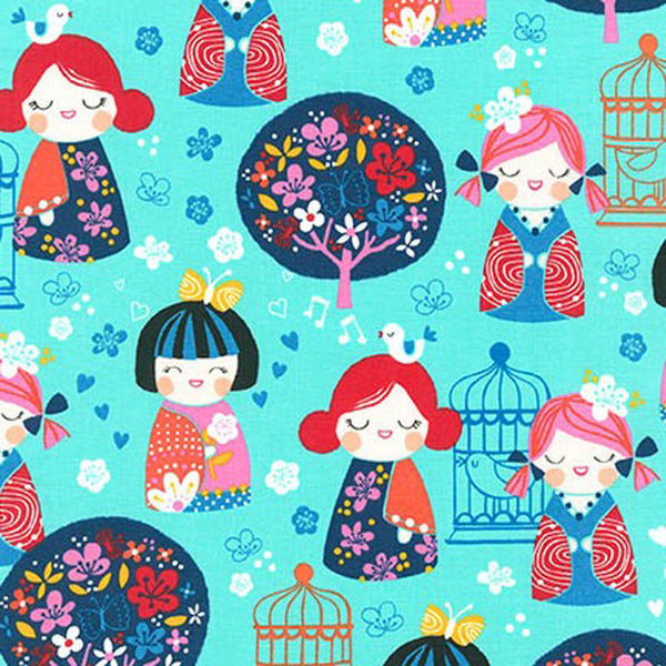 "ROBERT KAUFMAN ""CHERRY BLOSSOM GARDEN"" GIRLS Bright BY 1/2 YARD"