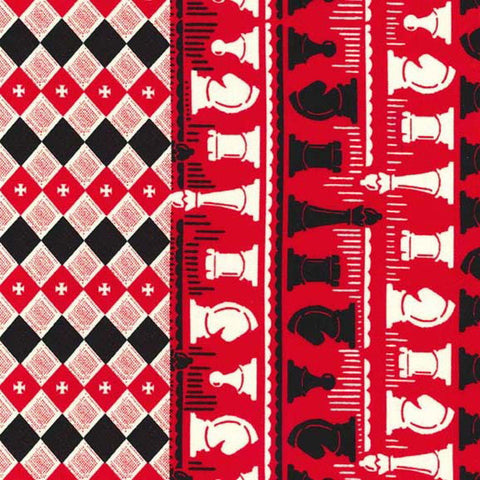 "MICHAEL MILLER ""CHECKMATE - double border print"" Cherry BY 1/2 YARD"