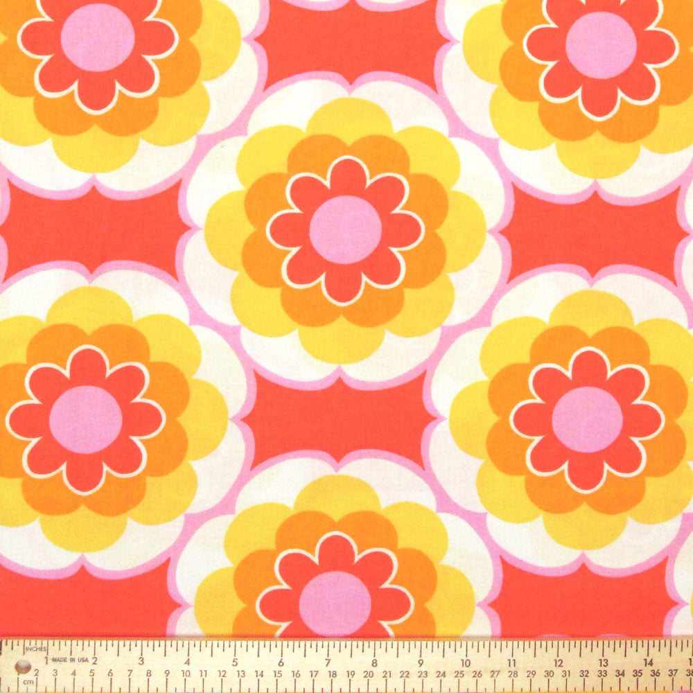 TIMELESS TREASURES SUNNY DAZE LARGE SET FLOWER Orange by 1/2 yard