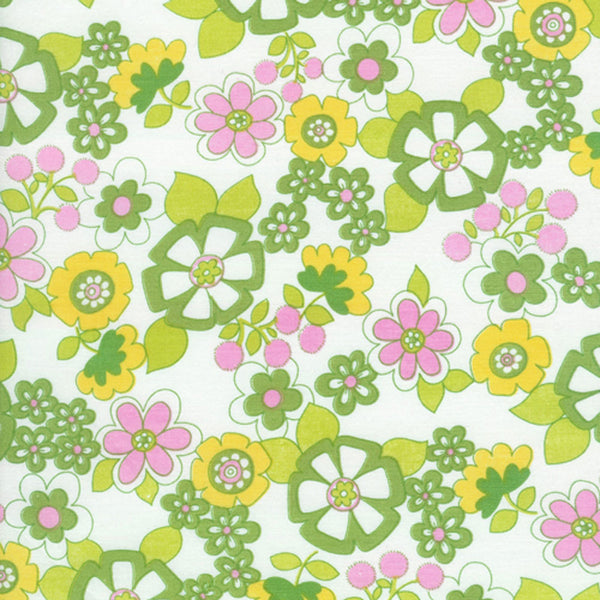 "TIMELESS TREASURES ""SUZI-Q"" SCRIBBLE FLOWER Green by 1/2 yard"