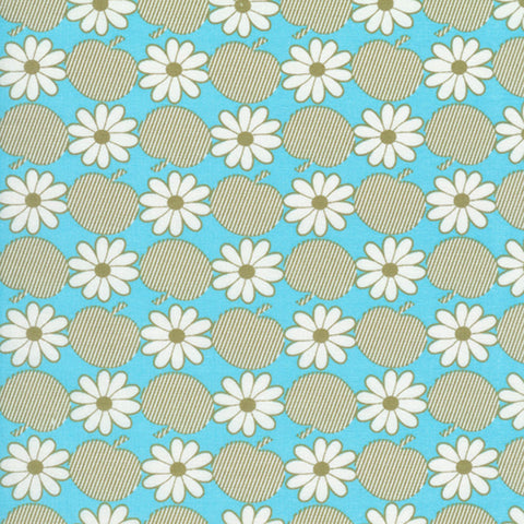 "TIMELESS TREASURES ""SUZI-Q"" APPLE FLORAL Aqua by 1/2 yard"