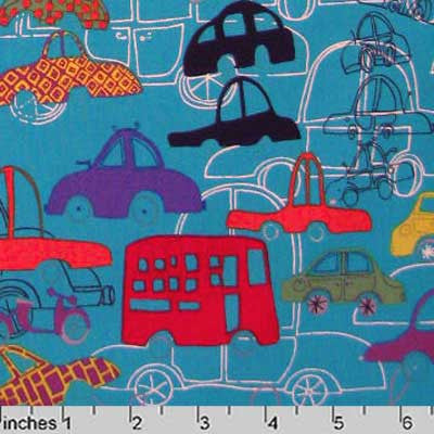 "ALEXANDER HENRY ""TRAFFIC JAM"" Blue 33.5 inches"