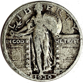 1930 United States Silver Standing Liberty Quarter - VG