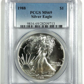 1988 United States 1oz Silver Eagle - PCGS MS69