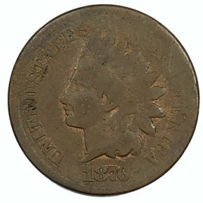 1876 United States Indian Head Cent Penny - AG