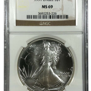 1991 United States 1oz Silver Eagle - NGC MS69