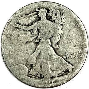 1918-D United States Silver Walking Liberty Half Dollar - AG