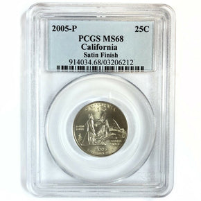 2005 United States Satin Finish CALIFORNIA Statehood Quarter - PCGS MS68