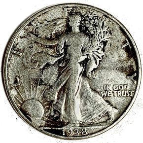 1938-D United States Silver Walking Liberty Half Dollar - VF
