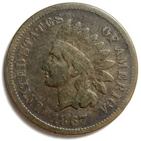 1867 United States Indian Head Cent Penny - VG