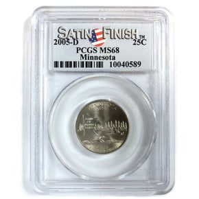2005-D United States MINNESOTA Statehood Quarter - PCGS MS68 - Satin Finish