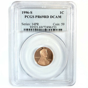 1996-S United States Lincoln Cent Penny - Proof - PCGS PR69RD DCAM