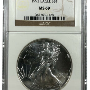 1992 United States 1oz Silver Eagle - NGC MS69
