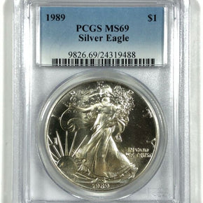 1989 United States 1oz Silver Eagle - PCGS MS69