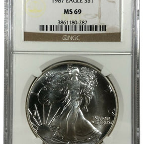 1987 United States 1oz Silver Eagle - NGC MS69