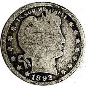 1892 United States Silver Barber Quarter - G