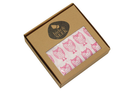 Hide & Seek muslin wrap - pink owl