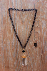 Free Spirit Crystal Quartz and Onyx Cross Pendant Necklace