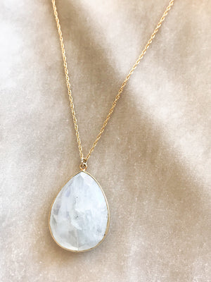 large moonstone on gold fill